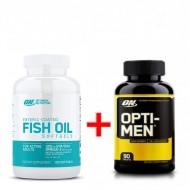 Комплект Optimum Nutrition Fish Oil (100 кап) + Opti men (90 кап)