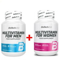 Комплект BiotechUSA Multivitamin for Men 60 таблетс + Multivitamin for Women -60 таблетс (256756)