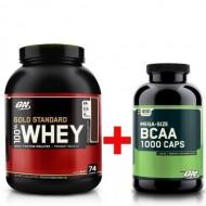 Комплект: 100% Whey Gold Standard (2273 грамм) + BCAA 1000 (400 капсул)