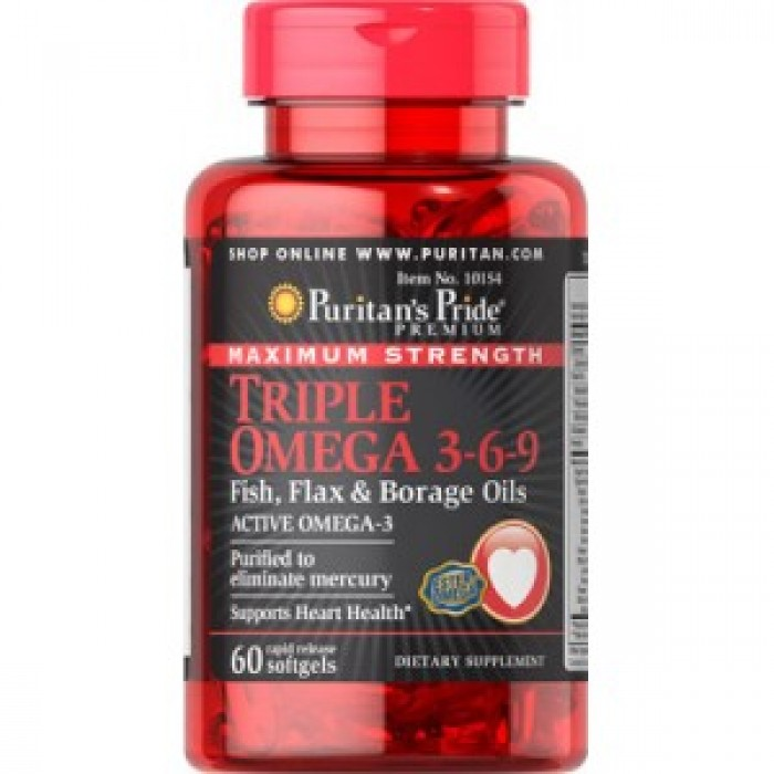 Puritan's Pride Triple Omega 3-6-9 Maximum Strength (60 капсул)