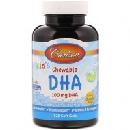 Рыбий жир для детей, Kids Chewable DHA, Carlson Labs, апельсин, 100 мг, 60 капсул