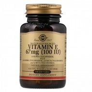 Витамин Е (d-альфа-токоферол), Vitamin E, Solgar, натуральный, 67 мг (100 МЕ), 100 капсул